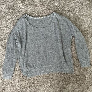 Moth Anthropologie Grey Knit Sweater Crewneck